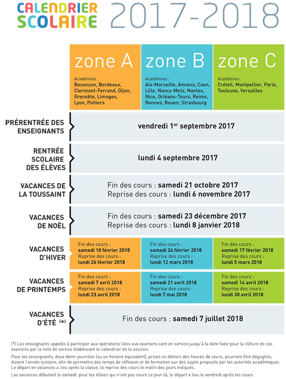 Calendrier scolaire 2017 2018 ce qu il faut savoir en 4 points width1024